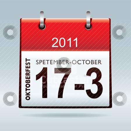 Oktoberfest calendar icon stock vector clipart, Oktoberfest calendar icon with blue background and shadow by Michael Travers