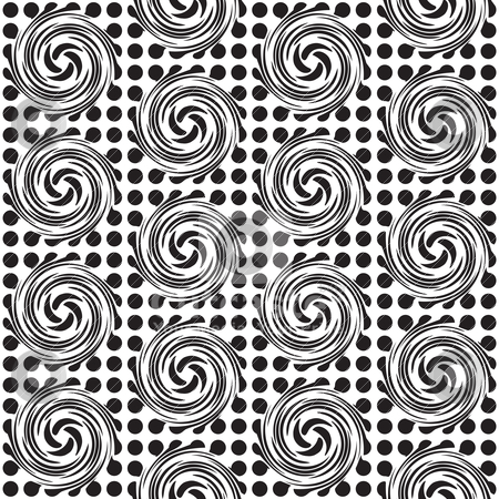 Spot twirl background stock vector clipart, Black and white seamless spot design background with swirls by Michael Travers