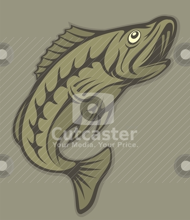 Fish lineart stock vector clipart, Jumping fish with open mouth illustration. by fractal.gr