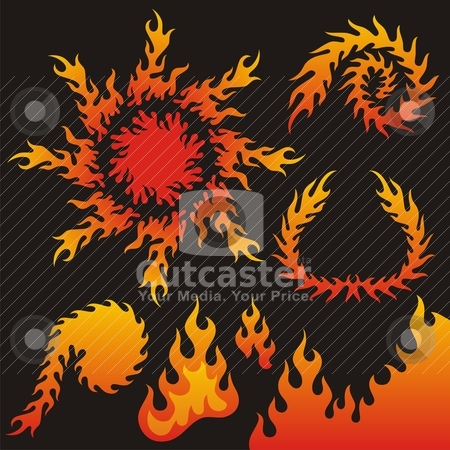 Flame design elements stock vector clipart, A collection of vector flame elements. by fractal.gr