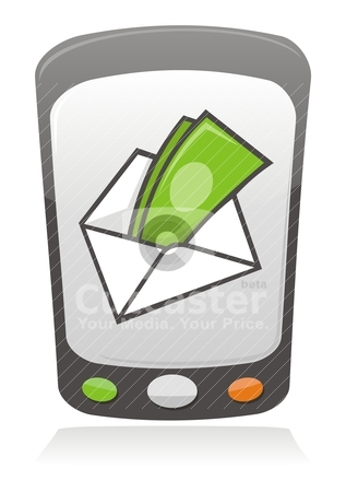 Mobile payment icon stock vector clipart, Illustration of money inside an envelope on a mobile phone screen. by fractal.gr