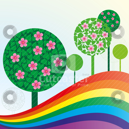 Spring or summer background stock vector clipart, Spring or summer background with meadow, trees and rainbow, vector illustration by Mykhaylo Kushch