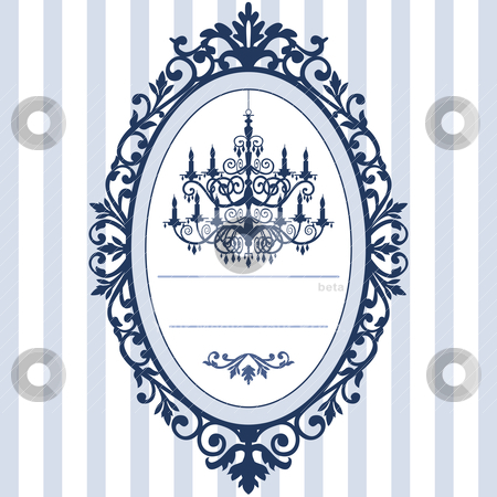 Wedding card with vintage chandelier stock vector clipart, Design for wedding cards with vintage, antique oval picture frame and baroque chandelier silhouette, full scalable vector graphic, change the colors as you like. by Ela Kwasniewski