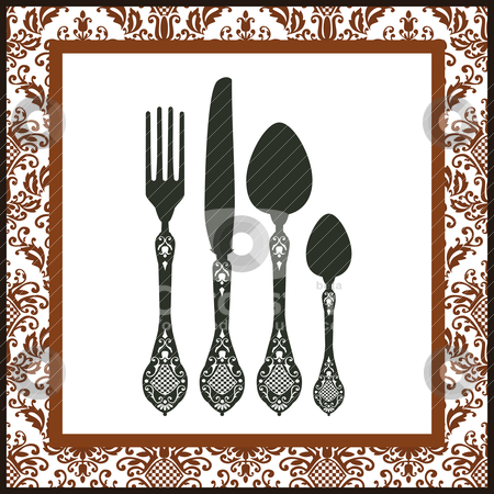 Retro cutlery background stock vector clipart, Retro silhouettes of  fork, spoon and knife with ornamental frame. Food design, menu of restaurant card.  by Ela Kwasniewski