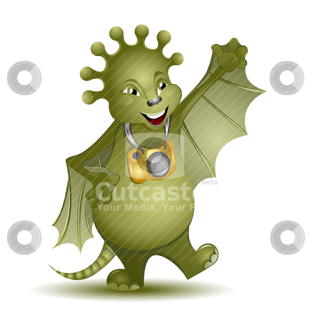 Cute alien photographer stock vector clipart, Cute alien photographer creature, vector illustration by Milsi Art