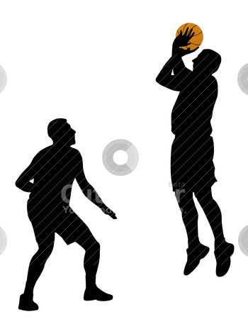 Basketball stock vector clipart, Illustration of two basketball players. Isolated white background. EPS file available. by Edvard Molnar