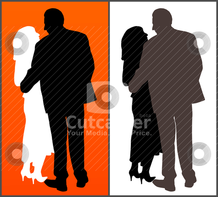 Couple stock vector clipart, Two versions of a couple on red background and isolated white background. EPS file available. by Edvard Molnar