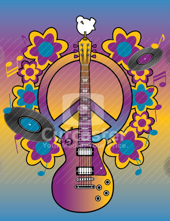 Woodstock Tribute I stock vector clipart, An illustration of a guitar, peace symbol and dove dedicated to the Woodstock Music and Art Fair of 1969.  by Lisa Fischer