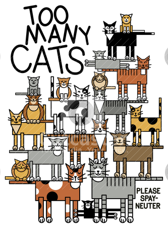 Too Many Cats stock vector clipart, Vector illustration of a cat family. Typestyle is my own creation. by Lisa Fischer
