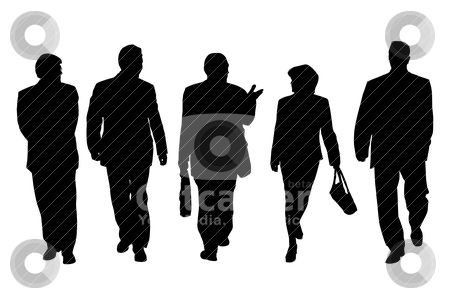 Group of business people walking and talking stock vector clipart, Four business men and one business woman walking and talking. Isolated white background. EPS file available. by Edvard Molnar