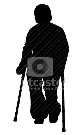 Handicap person with crutches stock vector clipart, Handicap person with crutches on isolated white background. EPS file available. by Edvard Molnar
