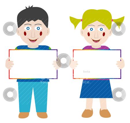 Happy children with blank banner stock vector