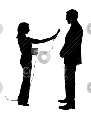 Interview stock vector clipart, Illustration of an interview. Isolated white background. EPS file available. by Edvard Molnar