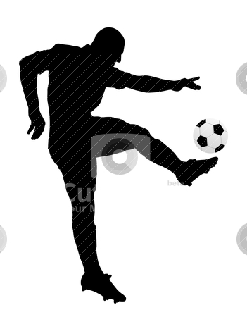 Soccer player stock vector clipart, Silhouette of a soccer player. Isolated white background. EPS file available. by Edvard Molnar