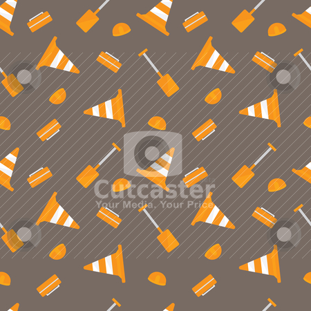 Under Construction stock vector clipart, Seamless background with various construction tools and items by Matthew Post