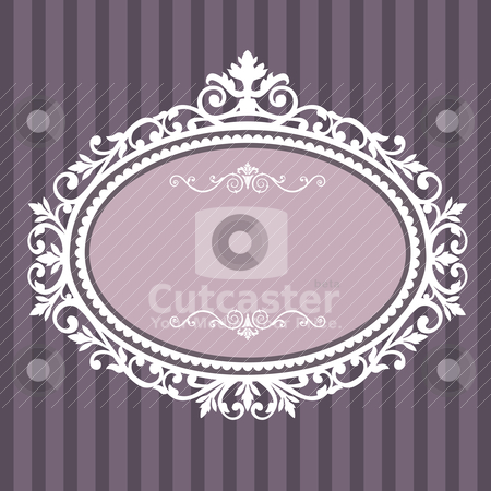 Decorative oval vintage frame stock vector clipart, Decorative white frame on the retro background with space for your text, full scalable vector graphic for easy editing and color change by Ela Kwasniewski