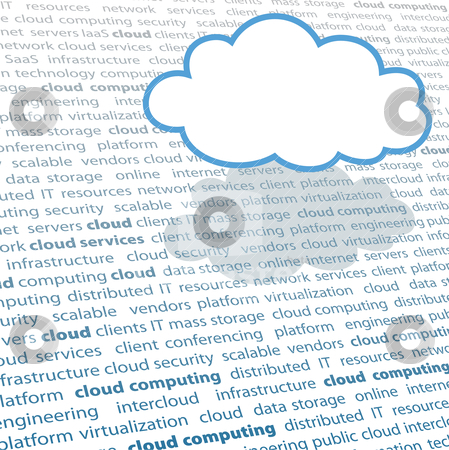Cloud computing copy space IT text page stock vector clipart, Cloud shape copy space above cloud computing IT terminology text page by Michael Brown