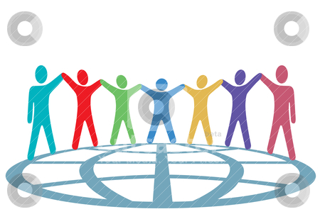 Colors People Hold Hands and Arms Up on Globe stock vector clipart, A global group of symbol people hold up their arms and hold hands around a globe in a spirit of togetherness. by Michael Brown