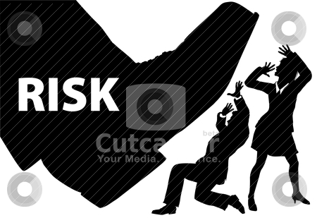 Risk foot step on uninsured business people stock vector clipart, Foot of RISK stops down to crush businessman and business woman people by Michael Brown