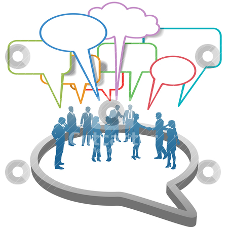 Social Business People Network  inside Speech Bubble stock vector clipart, Inner circle business people talk meet in a social media network speech bubble by Michael Brown