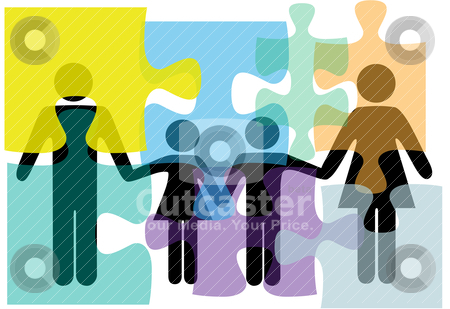 Family people health services problem solution puzzle stock vector clipart, Puzzled family people problem symbols in counseling mental health psychology abstract. by Michael Brown