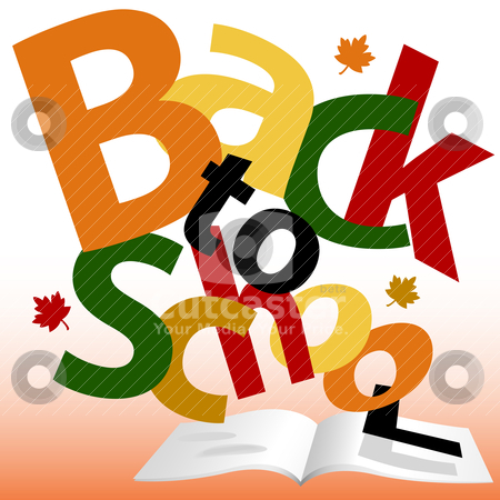 BACK TO SCHOOL words Fall text book pages stock vector clipart, Colorful BACK TO SCHOOL words Fall on open textbook pages. by Michael Brown