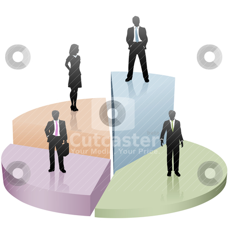 Business people stand on success pie chart piece stock vector clipart, Team of business people silhouettes stand on top of success pie chart pieces. by Michael Brown