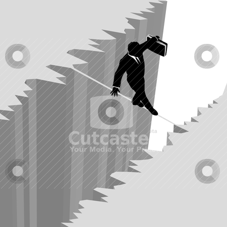 Business man walks risk tightrope over cliff drop danger stock vector clipart, A business man takes a risky dangerous walk on a tightrope over a cliff drop off to safety. by Michael Brown