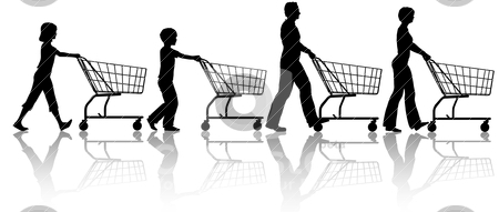Family mom dad kids together push shopping carts stock vector clipart, The family that shops together - mom dad kids push shopping carts. by Michael Brown