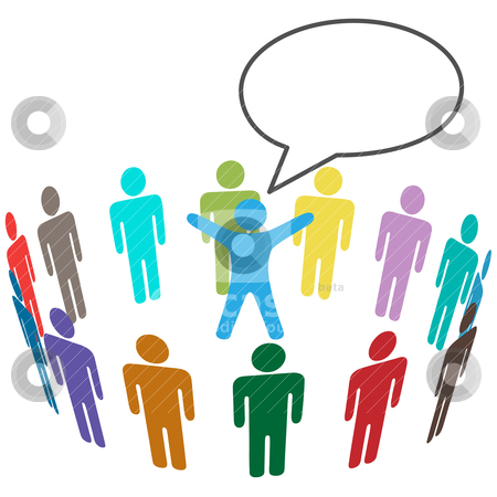 Colorful People Audience hear leader announcement stock vector clipart, Group of audience People listen to speaker announce in speech bubble. by Michael Brown