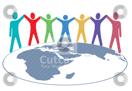 People colors Hold Hands and Arms on World Map stock vector clipart, Diverse group of symbol people hold hands around map of planet earth. by Michael Brown