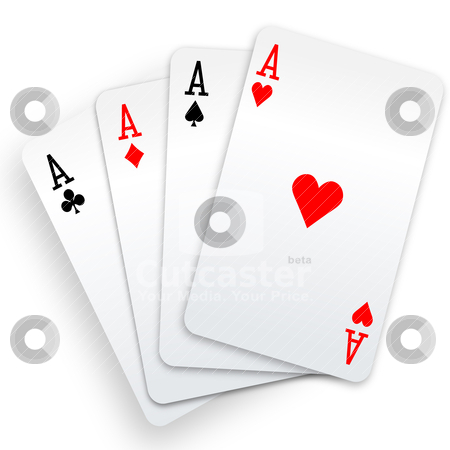 Four aces playing cards poker winner hand stock vector clipart, A winning poker hand of four aces playing cards suits on white. by Michael Brown