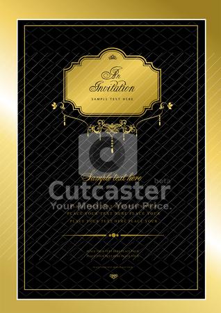 Invitation gold card. Wedding or Valentine`s Day. Vector illustr stock vector clipart, Invitation gold card. Wedding or Valentine`s Day. Vector illustration by Leonid Dorfman