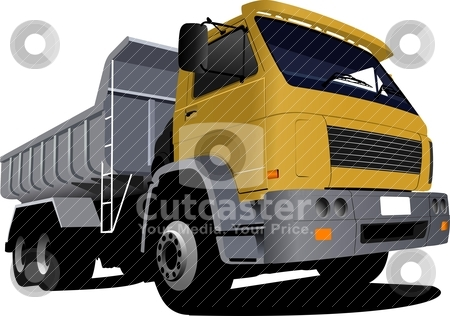 Yellow truck on the road. Lorry. Vector illustration stock vector clipart, Yellow truck on the road. Lorry. Vector illustration by Leonid Dorfman