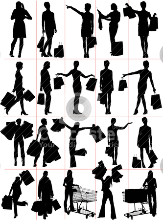Woman shopping  silhouettes. Vector illustration stock vector clipart, Woman shopping  silhouettes. Vector illustration by Leonid Dorfman
