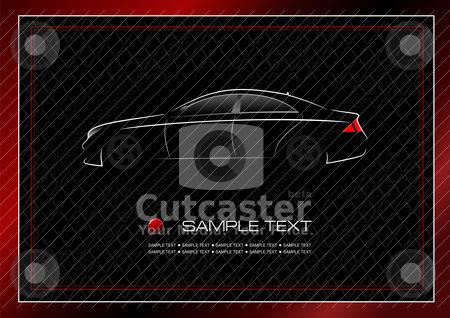 White silhouette of car on black background. Vector illustration stock vector clipart, White silhouette of car on black background. Vector illustration by Leonid Dorfman