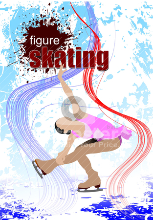 Figure skating colored silhouettes. Vector illustration stock vector clipart, Figure skating colored silhouettes. Vector illustration by Leonid Dorfman