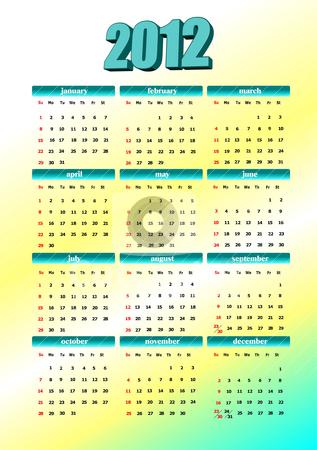 2012 calendar. Vector illustration  stock vector clipart, 2012 calendar. Vector illustration  by Leonid Dorfman