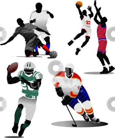 Four kinds of team sport game. Vector illustration stock vector clipart, Four kinds of team sport game. Vector illustration by Leonid Dorfman