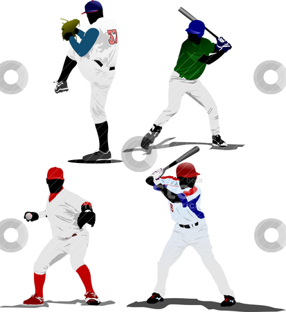 Four Baseball players. Vector illustration stock vector clipart, Four Baseball players. Vector illustration by Leonid Dorfman