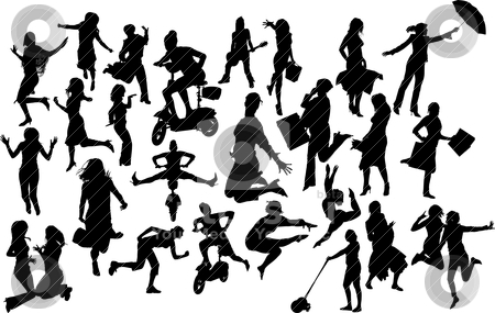 Women in action silhouettes. Vector illustration stock vector clipart, Women in action silhouettes. Vector illustration by Leonid Dorfman