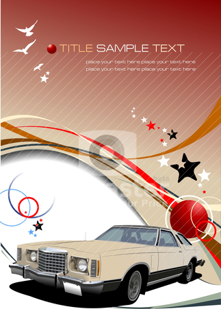 Brown business background with old car image. Vector illustratio stock vector clipart, Brown business background with old car image. Vector illustration by Leonid Dorfman