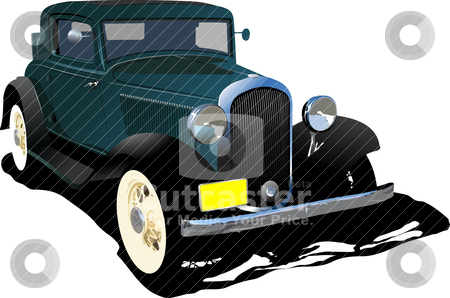 Old green cab. Vector illustration stock vector clipart, Old green cab. Vector illustration by Leonid Dorfman