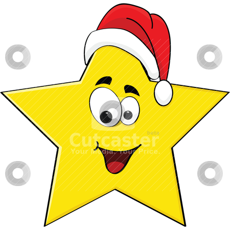 Christmas star stock vector clipart, Cartoon illustration of a happy star wearing a Santa Claus hat by Bruno Marsiaj