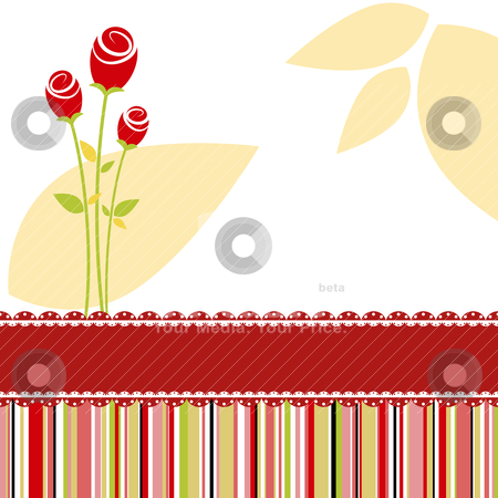Invitation card with red rose flower stock vector clipart, Love invitation card with red rose flowers by meikis