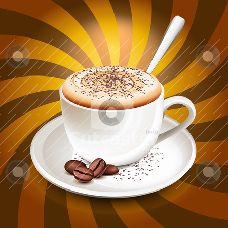 Cup of cappuccino over rays stock vector clipart, Cup of cappuccino over rays by Laurent Renault