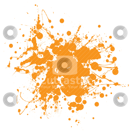 Orange ink splat stock vector clipart, Abstract orange ink splat background with copyspace by Michael Travers
