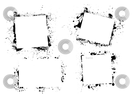 Splat ink paint border stock vector clipart, Black ink grunge frame border with copyspace by Michael Travers