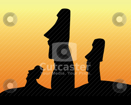 Black silhouettes of the idols of Easter Island  stock vector clipart, black silhouettes of the idols of Easter Island on an orange background by Yuriy Mayboroda