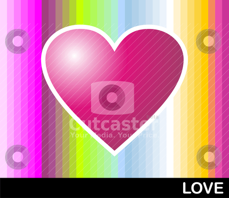 Loving pop heart stock vector clipart, Bright pink heart with colored banded background. Vector format available by Cienpies Design